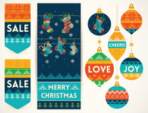 Knitting elements for christmas decoration Stock Photos