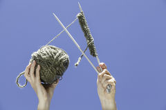 Knitting equipment. With blue sky background Stock Image