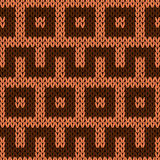 Knitting geometrical seamless pattern in brown hues Stock Images