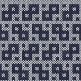 Knitting geometrical seamless pattern in muted blue hues Stock Images