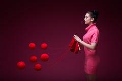 Knitting girl Royalty Free Stock Photos