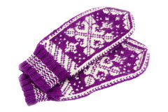 Knitting gloves, winter mittens Royalty Free Stock Images