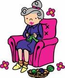 Knitting Grandma Stock Photo