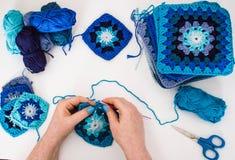 Knitting. Granny squares Stock Photos