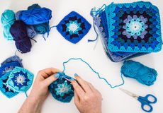 Knitting. Granny squares Stock Photography