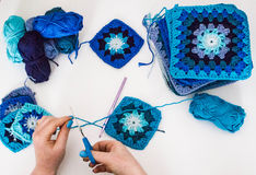 Knitting. Granny squares Royalty Free Stock Photography