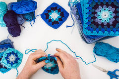 Knitting. Granny squares Stock Photo