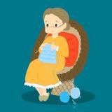 Knitting Granny Vector Royalty Free Stock Photography
