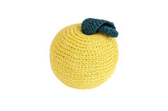 Knitting green apple Stock Photos