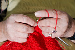 Knitting hands Royalty Free Stock Photo