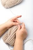 Knitting hands Royalty Free Stock Image