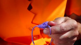 Knitting hands close up stock video footage