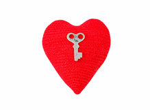 Knitting heart and key Stock Photo