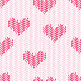 Knitting hearts simple seamless vector print Stock Images