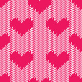 Knitting hearts simple seamless vector print Stock Photo