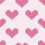 Knitting hearts simple seamless vector print Stock Image