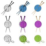 Knitting icon set vector in different colors. vector illustration stock illustration
