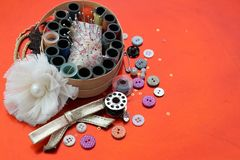 Knitting kit for handcrafts. Knitting kit for home made creative handcrafts stock photo