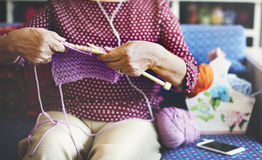 Senior adult knitting leisure female concept stock image for Craft hobbies for women