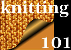 KNITTING 101 - Knitted garter stitch sampler for Beginners Royalty Free Stock Images