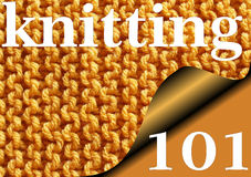 KNITTING 101 - Knitted garter stitch sampler for Beginners Royalty Free Stock Photography