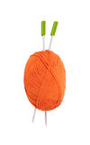 Knitting. Knitted. Threads for knitting with spokes isolated Stock Photography