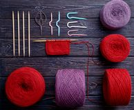 Knolling knitting. Flatlay Stock Images