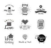 Knitting label set. Sheep wool badge. Vector Illustration  On White Royalty Free Stock Photography