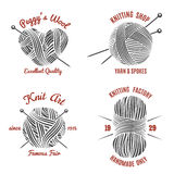 Knitting labels and knitwear logo stock illustration