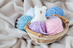 Knitting leisure in time of pregnancy Royalty Free Stock Image