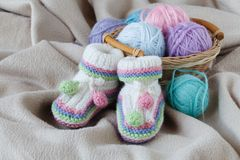 Knitting leisure in time of pregnancy Royalty Free Stock Images