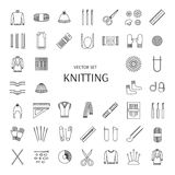 Knitting line icons set. Knitting supplies and accessories. Royalty Free Stock Photography