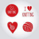 Knitting logo elements with yarn and needles Stock Photos