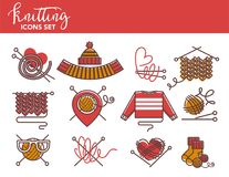 Knitting logo templates of knitted clothing or yarn knitwear. Winter clothes and garments of scarf, hat or mittens and sweater or socks. Vector isolated icons Royalty Free Stock Photo