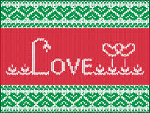 Knitting love card. Valentines day. Vector Illustration vector illustration