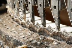 Knitting machine detail. Circular knitting machine used in manufacturing. closeup knit unit details; platinum and needles Stock Photos