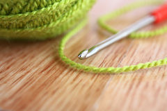 Knitting macro. Royalty Free Stock Photography