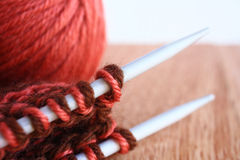 Knitting macro. Royalty Free Stock Photos