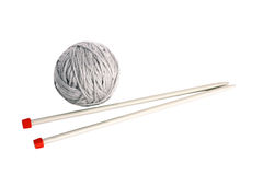 Knitting with metal spokes Stock Photography
