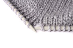 Knitting with metal spokes Royalty Free Stock Photo