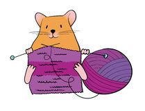 Knitting mouse Stock Photography