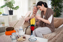 Knitting with my neighbor Stock Photography