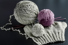 Knitting from natural wool Stock Photo