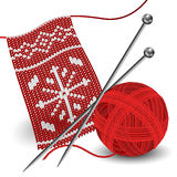 Knitting with needle and yarn ball. Snowflake knitting pattern with needle and red yarn ball Stock Image