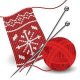 Knitting with needle and yarn ball Stock Image