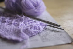Knitting on needles Stock Photo