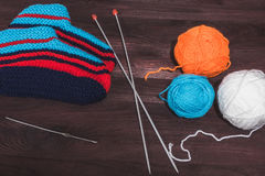 Knitting needles with a ball Stock Images