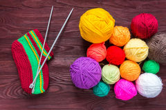 Knitting needles with a ball Stock Photo