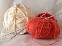 Knitting needles. Ball of thread knitting needles Royalty Free Stock Images