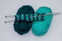 Knitting, needles and balls of wool stock photo